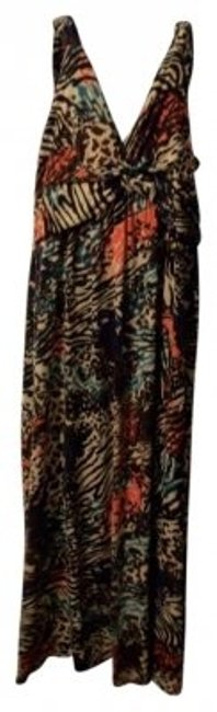 Item - Brown Black White Turquoise Coral Long Casual Maxi Dress Size 16 (XL, Plus 0x)