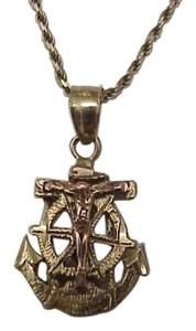Estate Stamped 10K 2-Tone Gold Religious Pendant Cross
