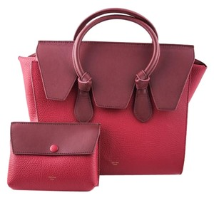 Céline Leather Knot Tote in red
