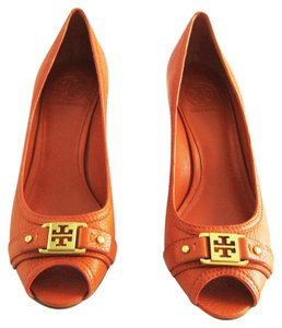 Tory Burch Leather Open Toe Orange Wedges