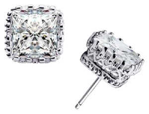Other 7mm White Gold Filled Square Crown Clear CZ Big Stud Earrings