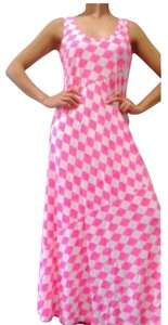 Pink Green Maxi Dress by