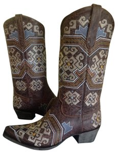 Lane Boots Yaretzi Embroidered Leather Cowboy Brown/Multi Boots