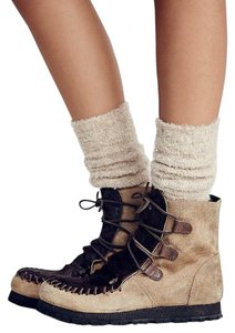 Free People Hiking Calf Hair/suede Tan Boots