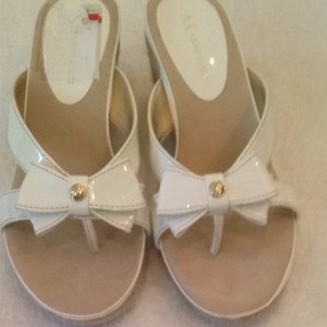 AK Anne Klein White Patent Sandals