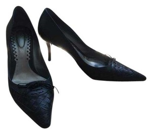 Bottega Veneta Woven Leather Heels Black Pumps