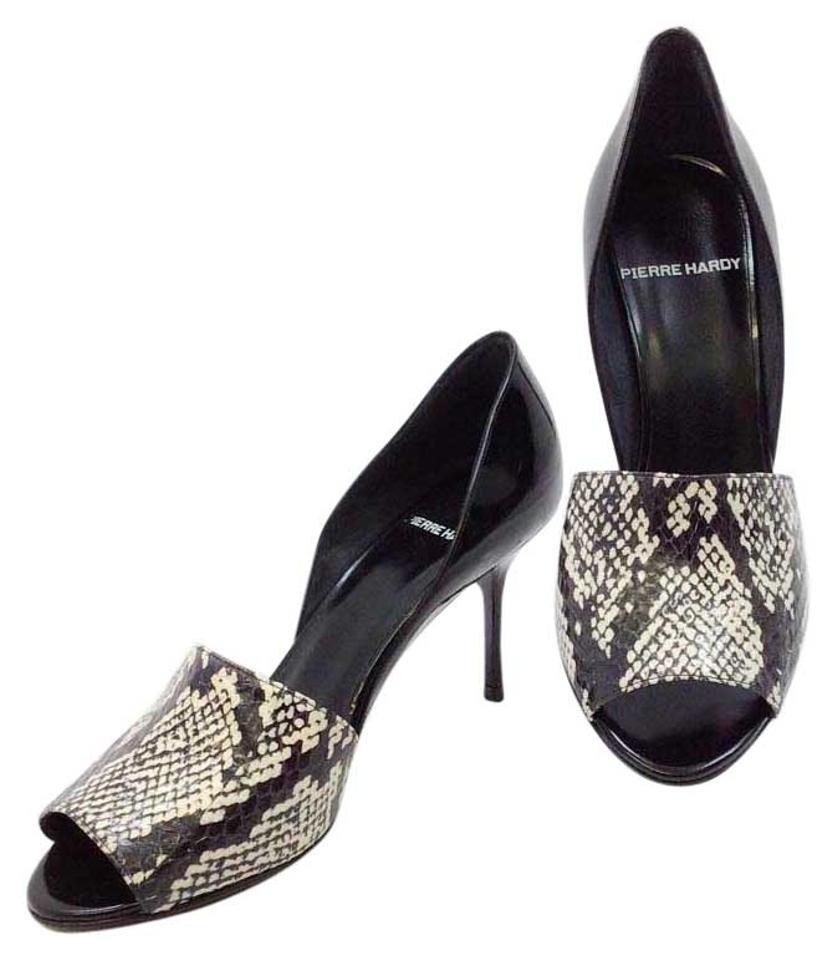 Pierre Hardy White Black White Hardy Snake/Shiny Calf Sandals 02168e