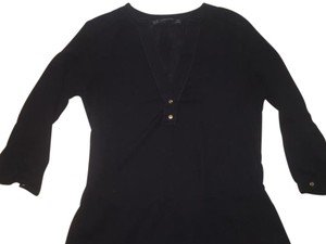 Zara Quarter Length Vneck Top Black, gold