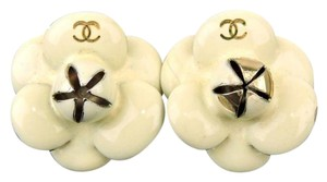 Chanel CAMELLIA EARRINGS WHITE ENAMEL C C Logo
