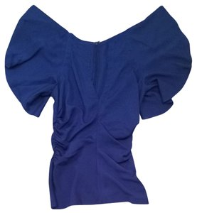 Bebe Fluttersleeve Sexy Blue Sleeveless Top Royal Blue