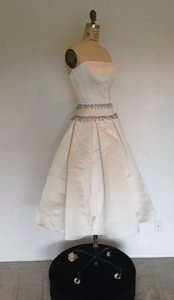 Lazaro Short 3316 White Silk Satin W Crystal Trims Strapless Box Pleat Sz 6/8 Wedding Dress