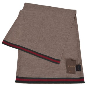Gucci New Gucci Men's 327377 Brown Wool Red Green Web Trim Scarf Muffler