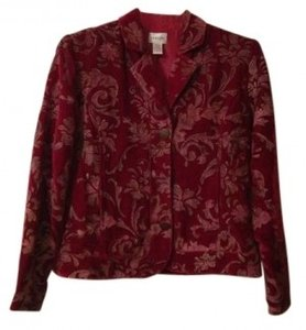 Chico's Floral Jacket Vintage Button Down Elegant Red Blazer