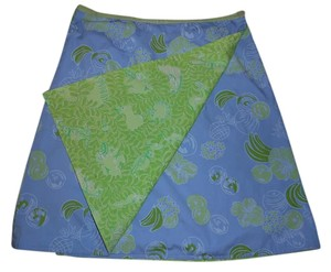 Lilly Pulitzer Tropical Print Wrap Skirt Green/Blue