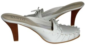 Franco Sarto Bow Detailing Leather Backless Tonal Stitching White Sandals