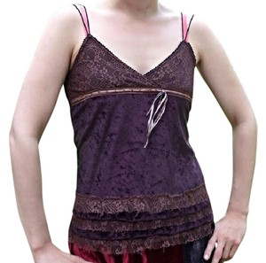 Other Victorian Boho Gypsy Velvet Lace Top Brown and Purple