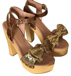 Valentino Brown/gold Platforms