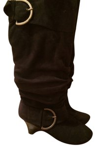 Naughty Monkey Suede Wedge Heel Tall Winter Black Boots
