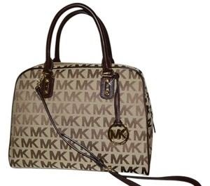 Michael Kors Jacquard Handbag Satchel in Brown and Tan MK Monogram