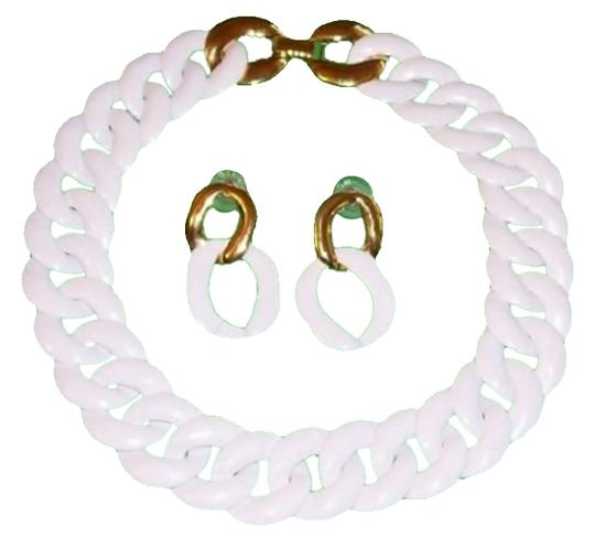 Monet White with Gold-tone Enamel Necklace and Earrings