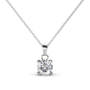 18k White Gold Plated Crystal Pendant with Swarovski Elements Necklace
