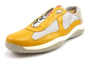 Prada Mens Shoes 10.5, 11.5 US Leather & Mesh Sneakers PS0906 Yellow