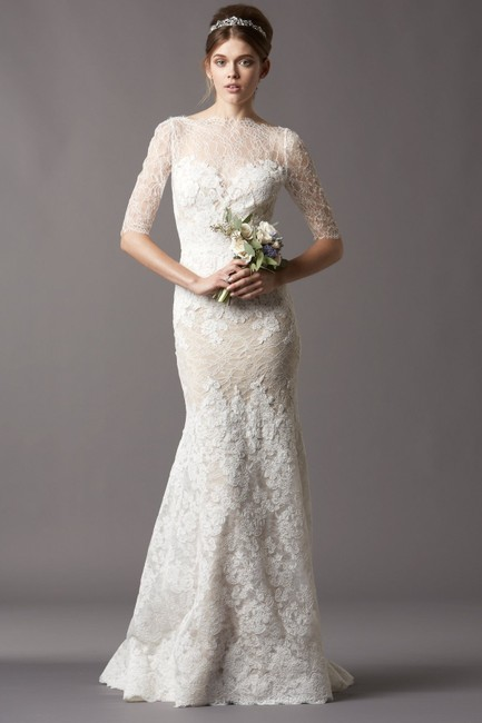 Item - Ivory with Bronze Slip Chantilly and Corded Lace A Stretch Silk Charmeuse Formal Wedding Dress Size 8 (M)