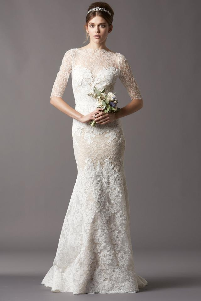Watters Ivory With Bronze Slip Chantilly And Corded Lace A Stretch Silk Charmeuse Formal Wedding Dress
