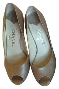 Chanel Lambskin Monogram Soft Peep Toe Leather Taupe Pumps
