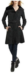 RUDSAK Shearling Zip-front Belted Knee-length Fur Coat