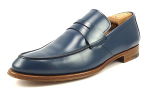 Zegna Mens Shoes Size 8 Alcinico Leather Strap Loafers A0970 Blue