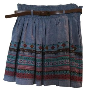 American Rag Tribal Patterns Pleated Full Skirt blue