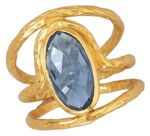 Other 14 Karat Gold Plated Ring with Blue Hydro Quartz