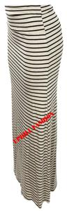 UPHILL FASHION Maxi Skirt LIGHT YELLOW STRIPED BLACK
