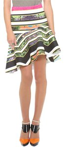 Clover Canyon Neoprene Bodycon Print Mini Skirt White Multi