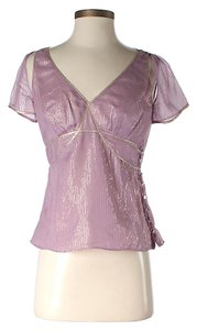 Twelfth St. by Cynthia Vincent Silk Metallic Open Shoulder Top Pink