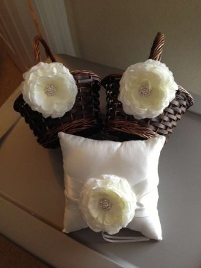 Ivory & Ring Bearer Set Flower Girl Basket