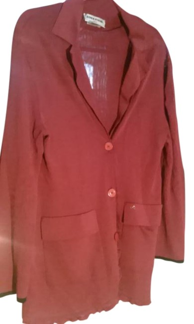 Sonia Rykiel Red Plum Large Made In France Finely Knitted Jacket Size 14 (L) Sonia Rykiel Red Plum Large Made In France Finely Knitted Jacket Size 14 (L) Image 1