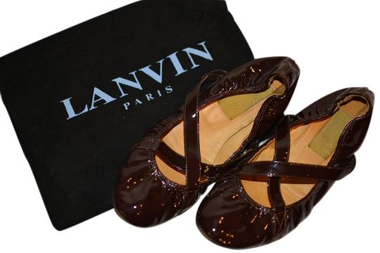 Lanvin Patent Leather Ballet Crisscross Strap brown Flats