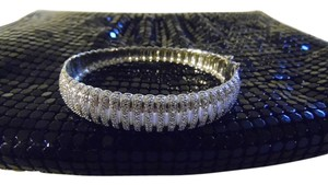 Technibond Technibond Over Rhodium .925 Sterling Silver Ribbed Texture Bracelet with Diamond Accents Size 7