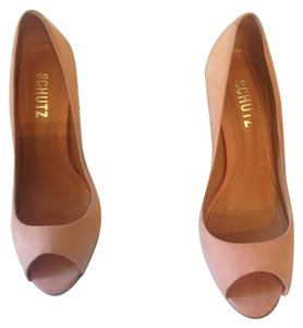 SCHUTZ Suede Open Toe Nude Pumps