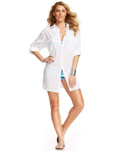 Ralph Lauren LAUREN RALPH LAUREN SEMI-SHEER TUNIC COVER UP WHITE S LR5F856 shirt