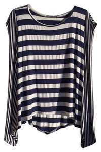 Cherish Top Navy and white