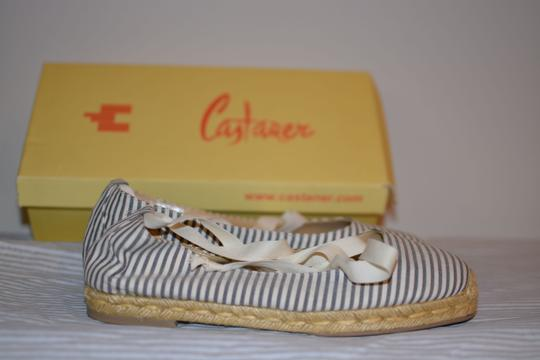 Castañer Espadrille Ankle Strap Ankle Lace-up Striped White/blue stripe Flats