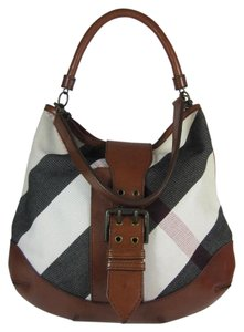 Burberry Nova Check Leather Large Shoulder Bag