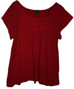 RXB Braid Trim Short Sleeve Crinkle Cotton Top Red