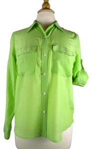 Ralph Lauren Silk Button Down Shirt Green