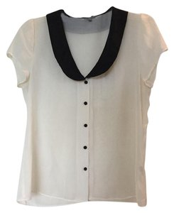 Charlotte Russe Peter Pan Collar Button Up Top white