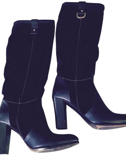 Rafe New York Knee High Leather Suede Chunky Black Boots
