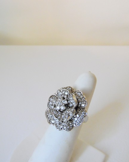 "Suzanne Somers Suzanne Somers ""Flower in Bloom"" Pave CZ Flower Ring Size 8"